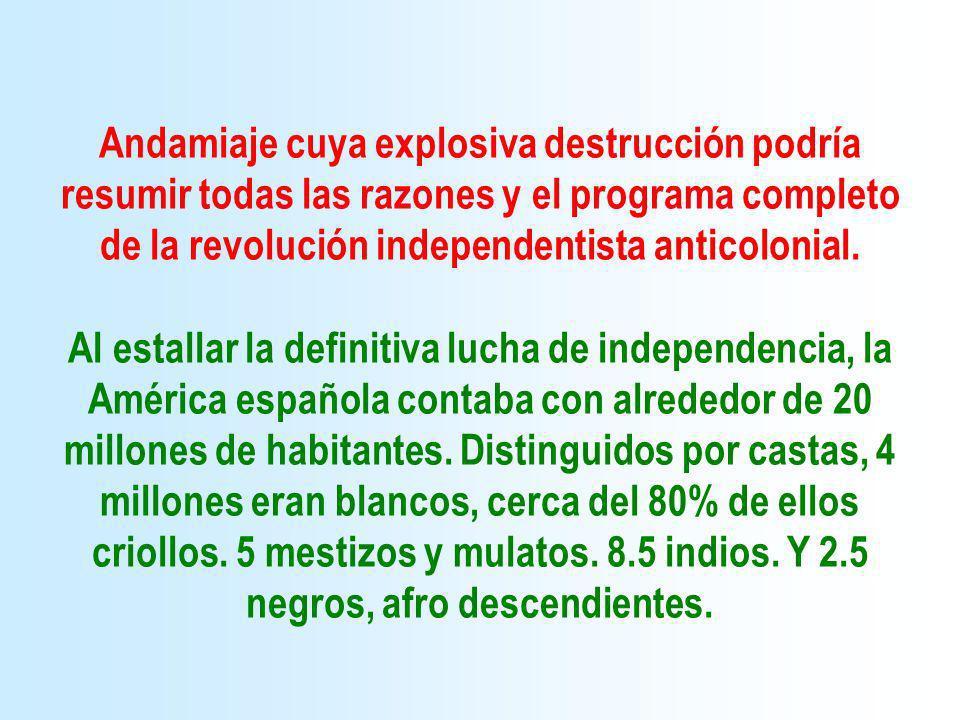 Andamiaje cuya explosiva destrucción podría resumir todas las razones y el programa completo de la revolución independentista anticolonial.
