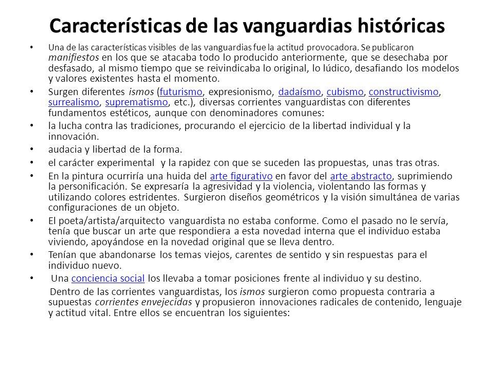 Características de las vanguardias históricas