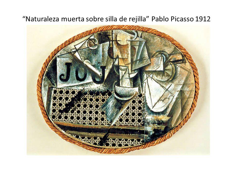 Naturaleza muerta sobre silla de rejilla Pablo Picasso 1912