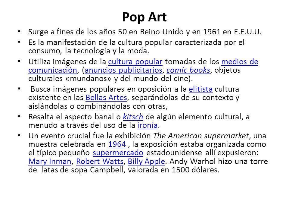 Pop Art Surge a fines de los años 50 en Reino Unido y en 1961 en E.E.U.U.