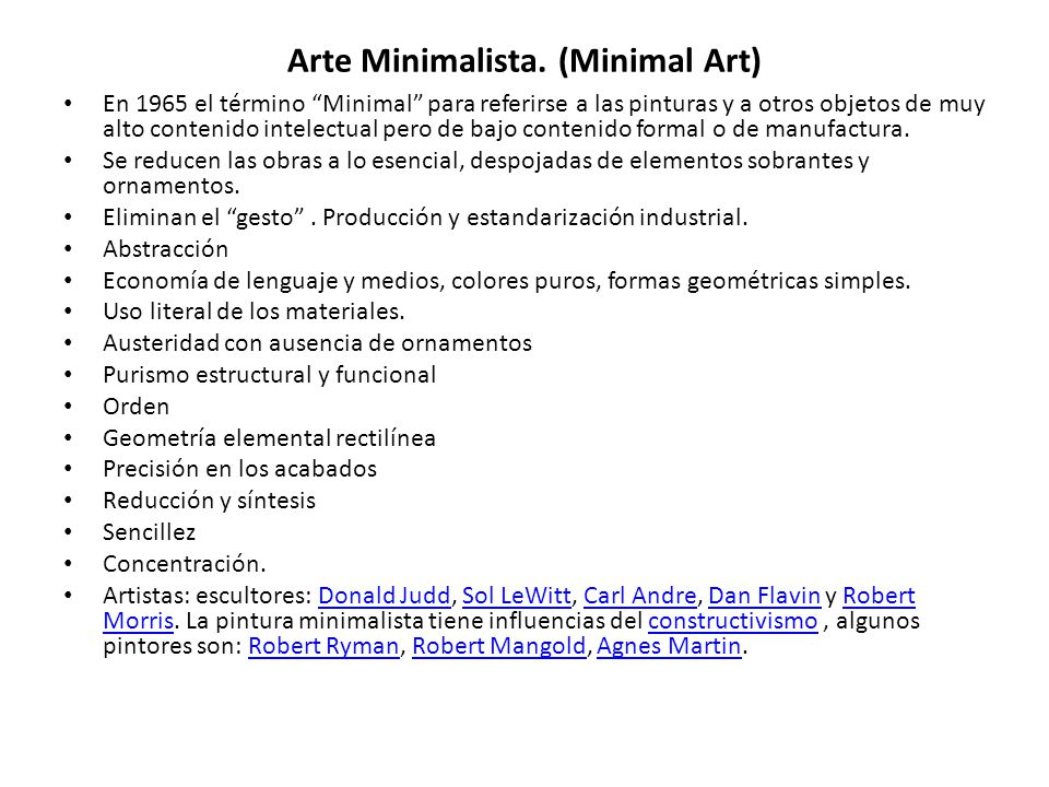 Arte Minimalista. (Minimal Art)