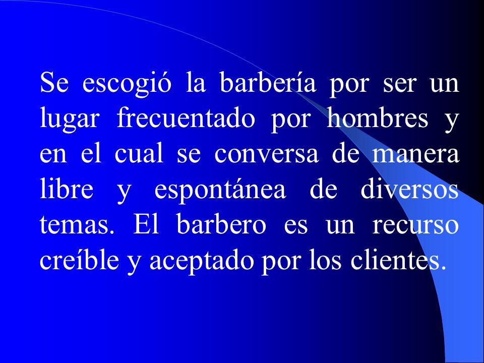 Se escogió la barbería por ser un lugar frecuentado por hombres y en el cual se conversa de manera libre y espontánea de diversos temas.