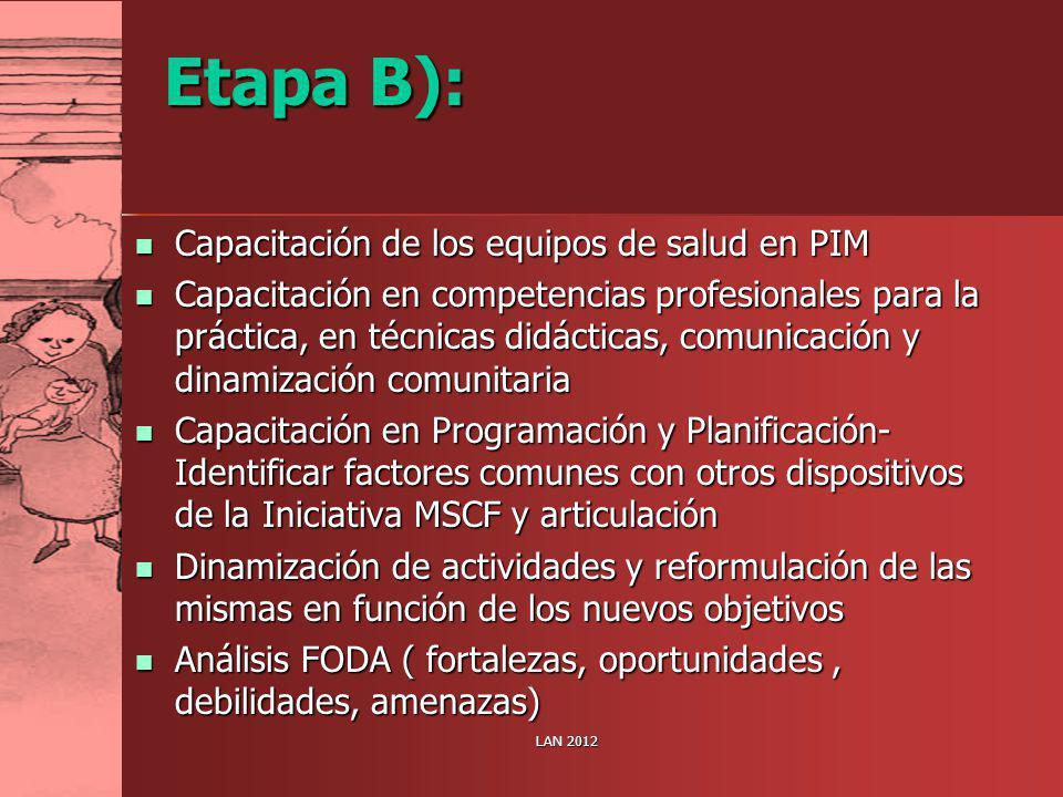 Etapa B): Capacitación de los equipos de salud en PIM