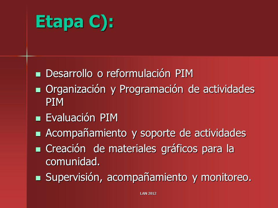 Etapa C): Desarrollo o reformulación PIM