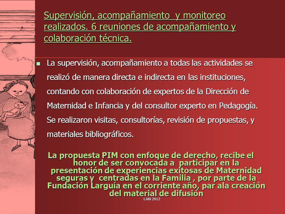 Supervisión, acompañamiento y monitoreo realizados