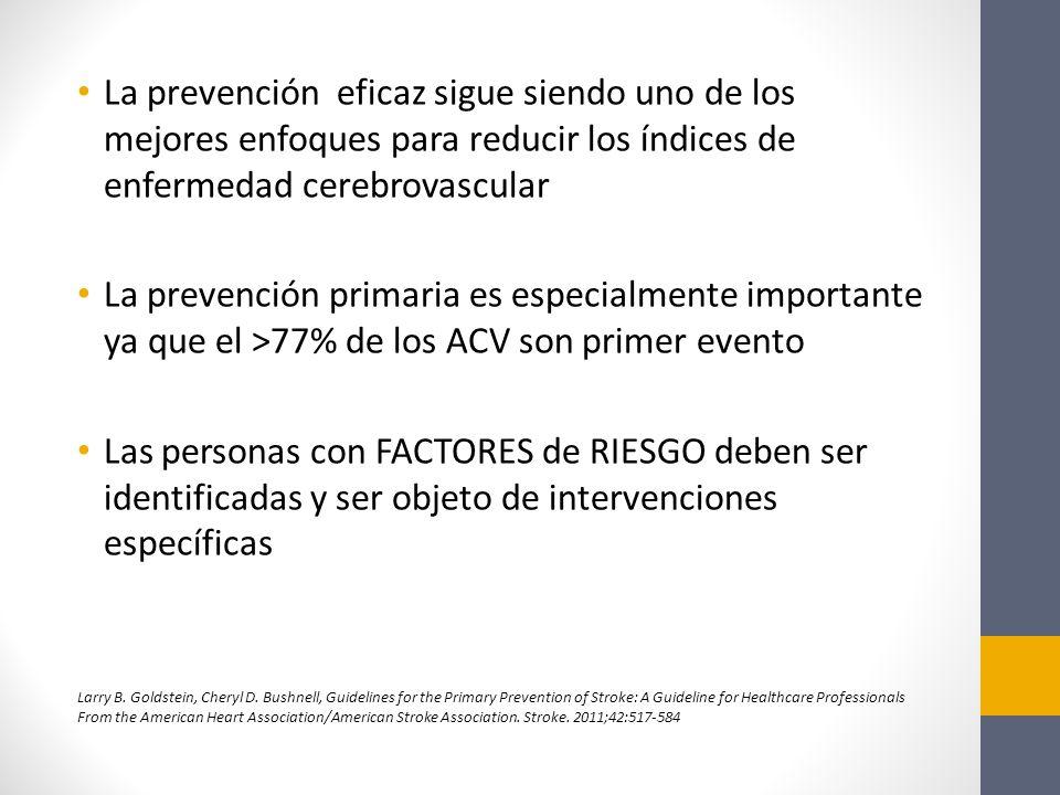 La prevención eficaz sigue siendo uno de los mejores enfoques para reducir los índices de enfermedad cerebrovascular