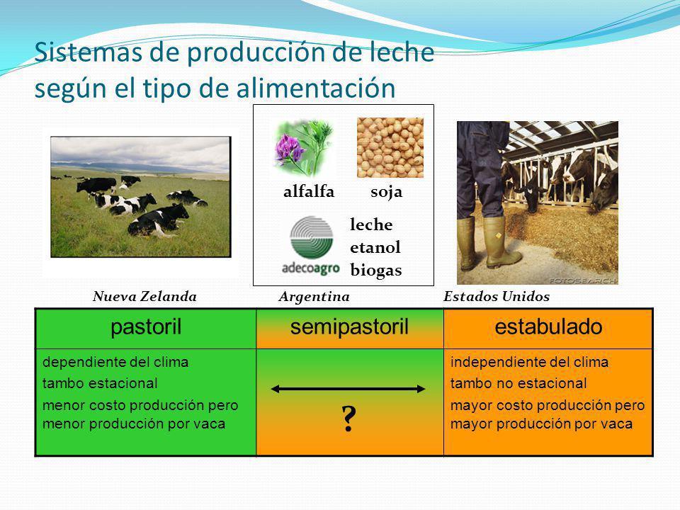 Sistemas de producción de leche según el tipo de alimentación