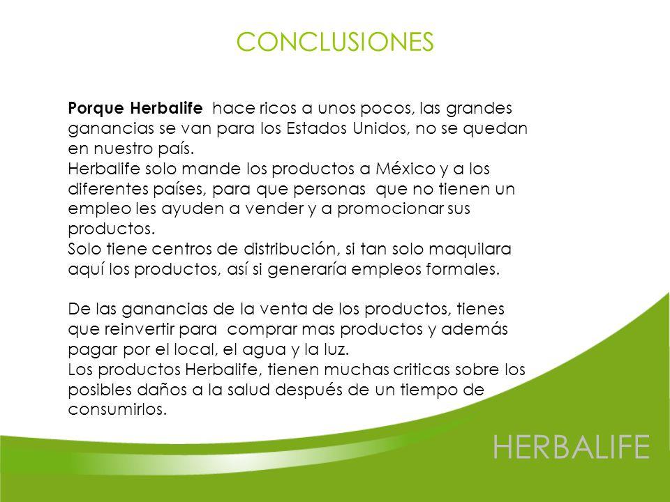 HERBALIFE CONCLUSIONES