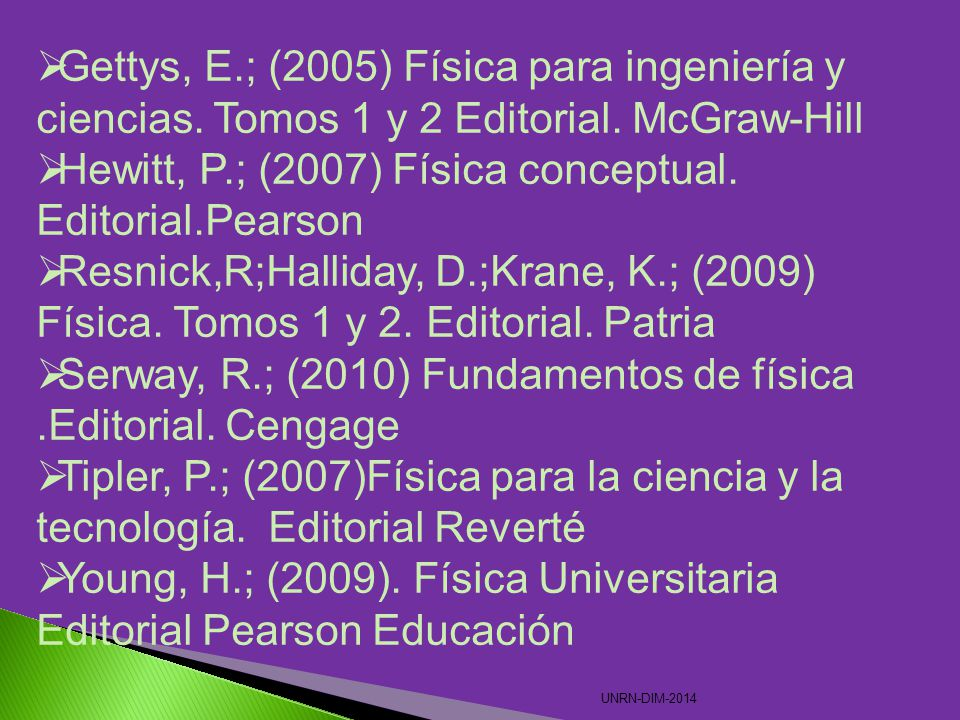 Hewitt, P.; (2007) Física conceptual. Editorial.Pearson