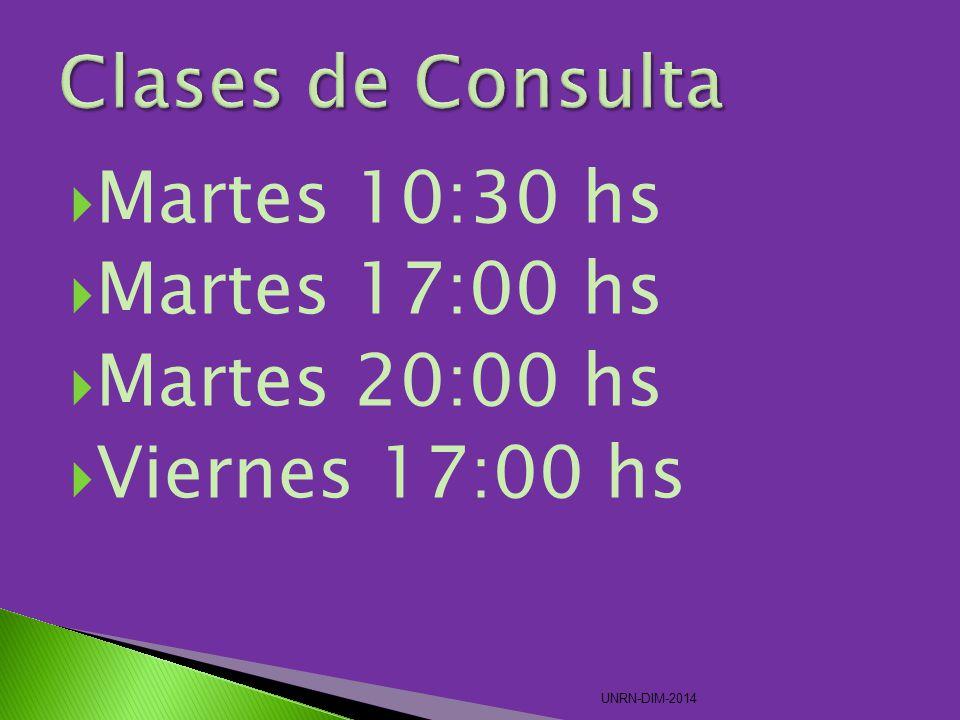 Clases de Consulta Martes 10:30 hs Martes 17:00 hs Martes 20:00 hs