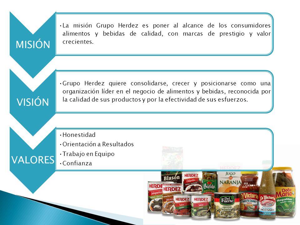MISIÓNLa misión Grupo Herdez es poner al alcance de los consumidores alimentos y bebidas de calidad, con marcas de prestigio y valor crecientes.