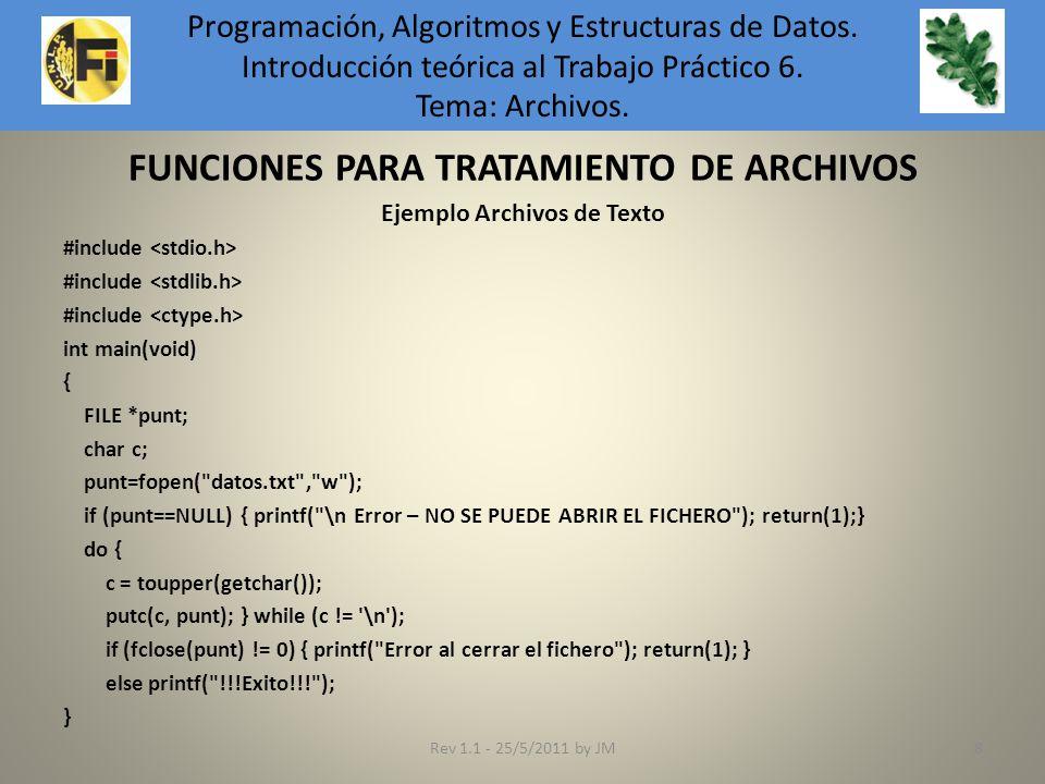 FUNCIONES PARA TRATAMIENTO DE ARCHIVOS Ejemplo Archivos de Texto