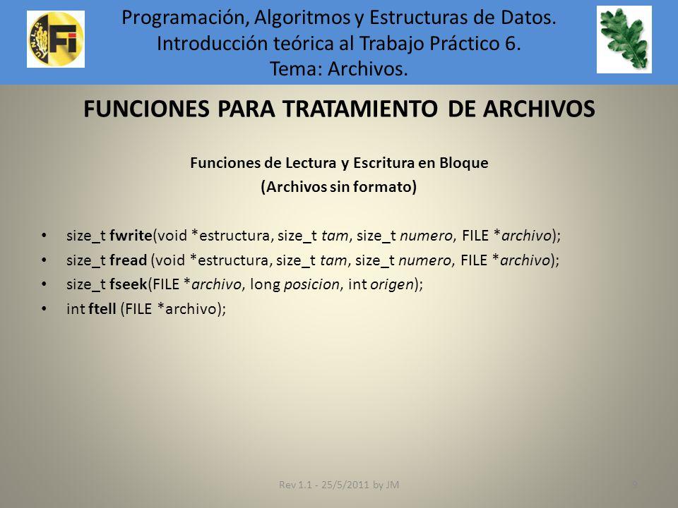 FUNCIONES PARA TRATAMIENTO DE ARCHIVOS