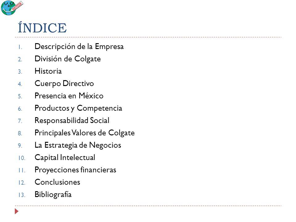 ÍNDICE Descripción de la Empresa División de Colgate Historia