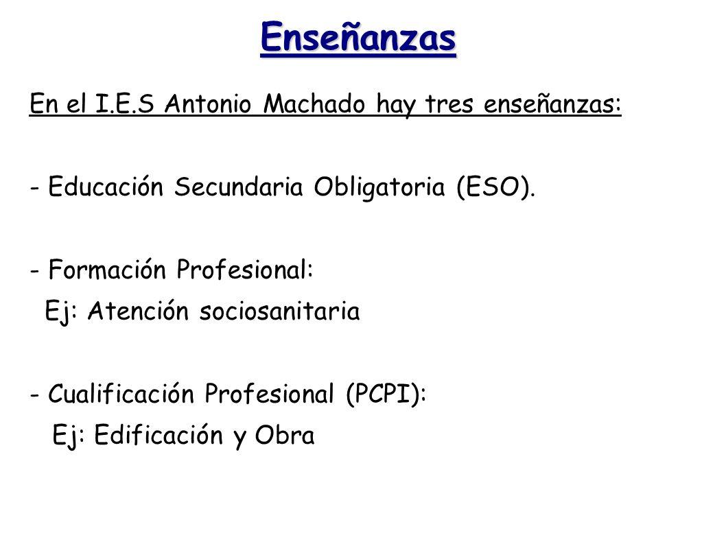 Enseñanzas En el I.E.S Antonio Machado hay tres enseñanzas: