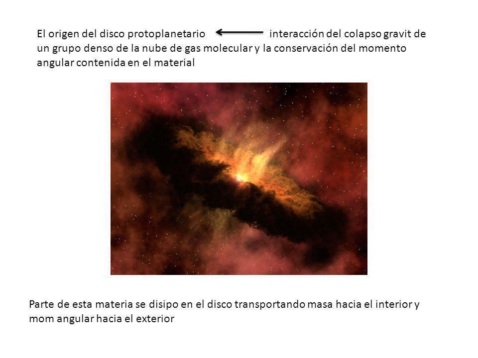 El origen del disco protoplanetario interacción del colapso gravit de un grupo denso de la nube de gas molecular y la conservación del momento angular contenida en el material