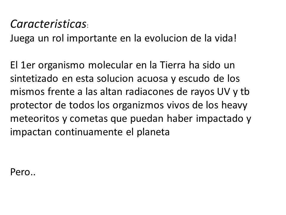 Caracteristicas: Juega un rol importante en la evolucion de la vida!