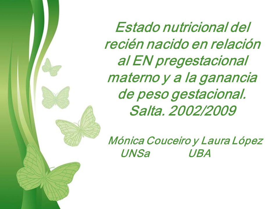 Estado nutricional del recién nacido en relación al EN pregestacional materno y a la ganancia de peso gestacional.
