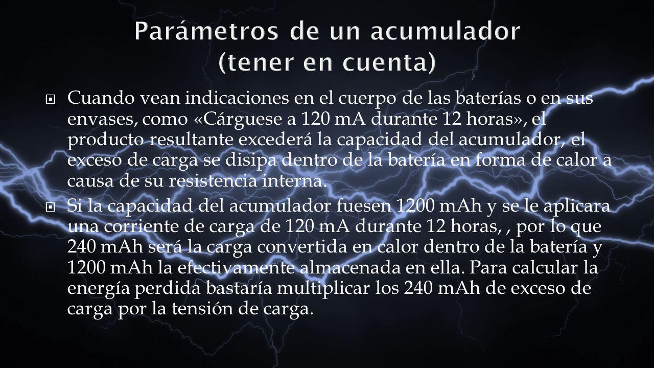 Parámetros de un acumulador (tener en cuenta)
