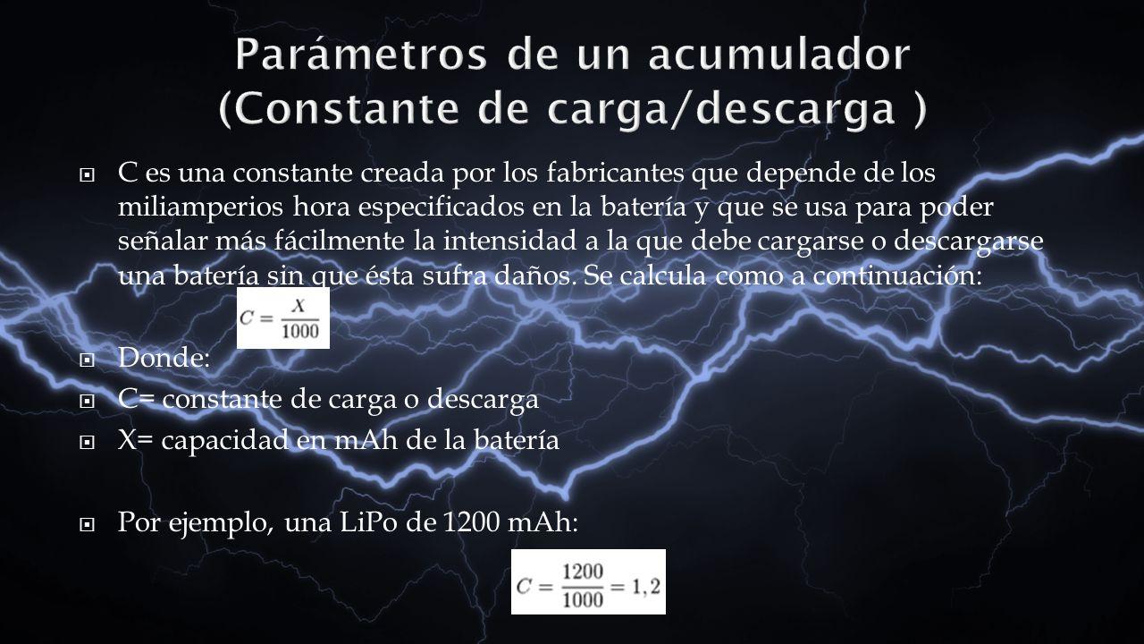 Parámetros de un acumulador (Constante de carga/descarga )