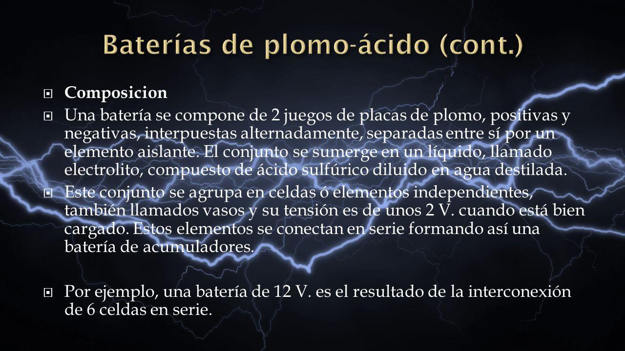 Baterías de plomo-ácido (cont.)