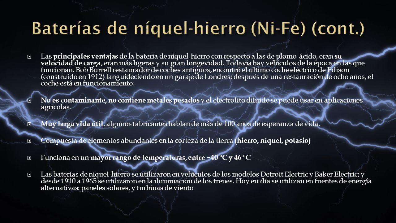 Baterías de níquel-hierro (Ni-Fe) (cont.)