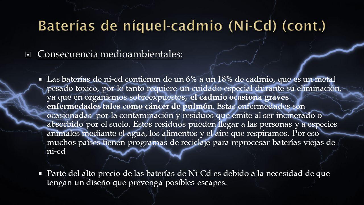 Baterías de níquel-cadmio (Ni-Cd) (cont.)