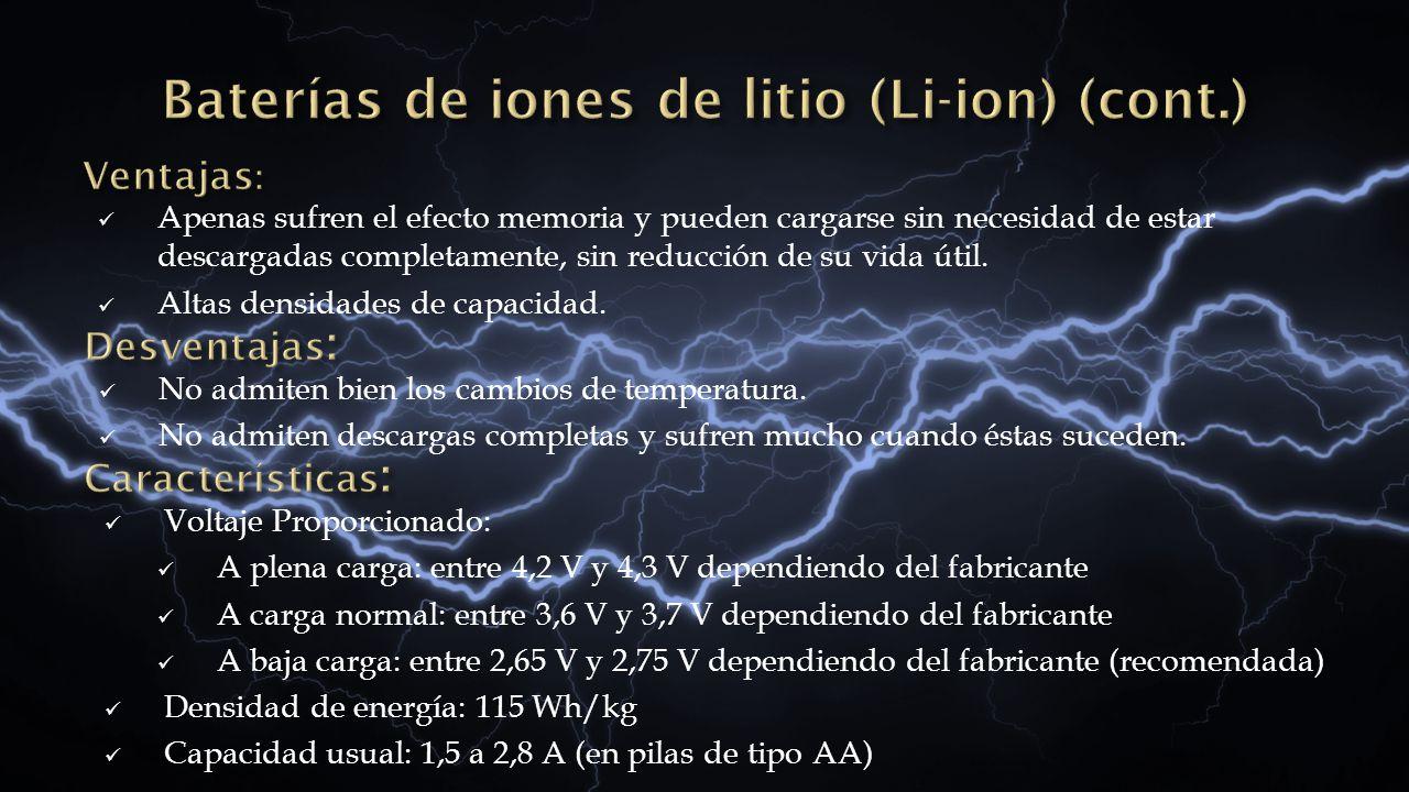 Baterías de iones de litio (Li-ion) (cont.)