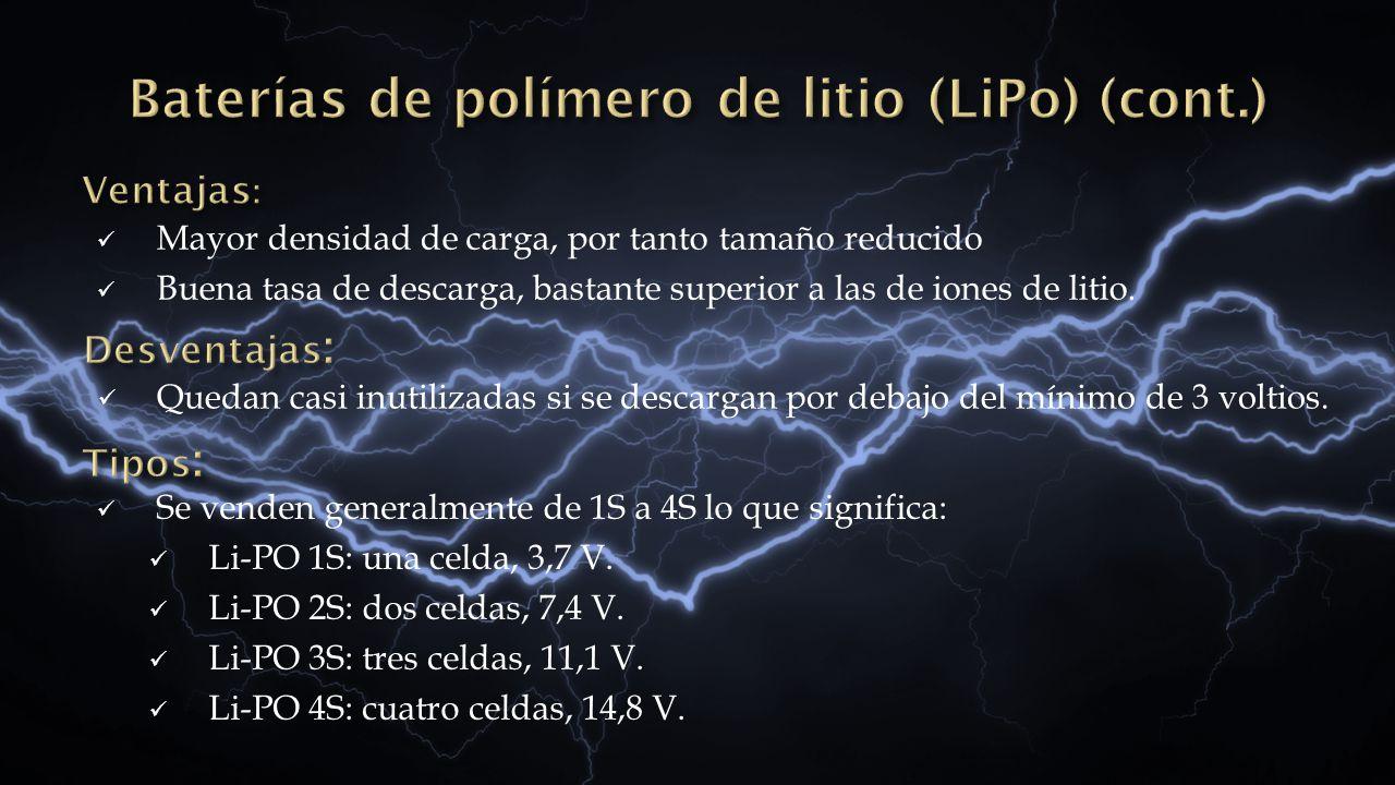 Baterías de polímero de litio (LiPo) (cont.)