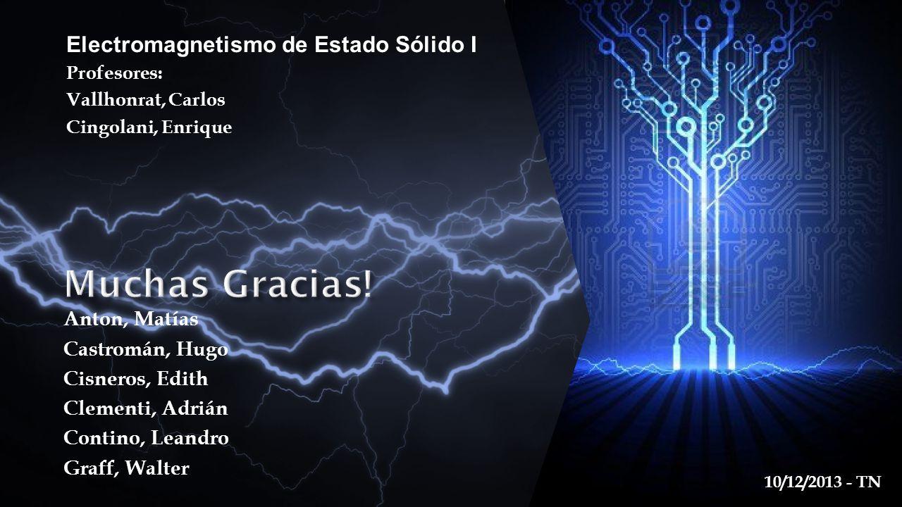 Muchas Gracias! Electromagnetismo de Estado Sólido I Anton, Matías