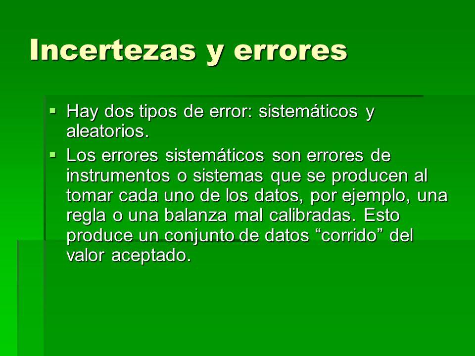 Incertezas y errores Hay dos tipos de error: sistemáticos y aleatorios.