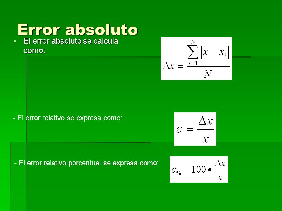 Error absoluto El error absoluto se calcula como: