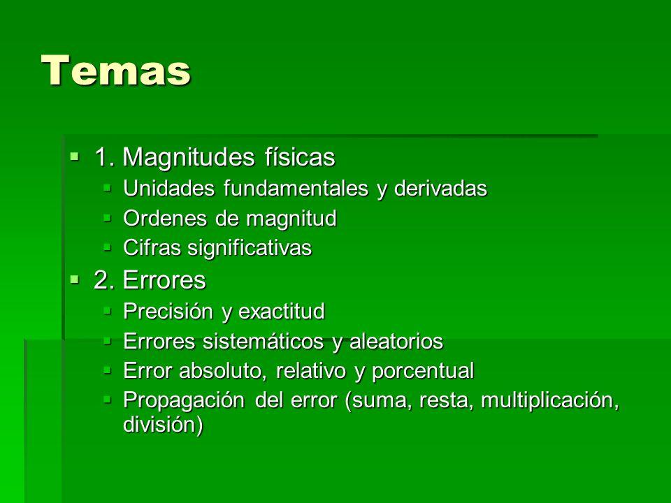 Temas 1. Magnitudes físicas 2. Errores