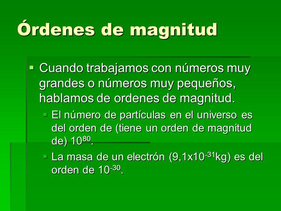 Órdenes de magnitud Cuando trabajamos con números muy grandes o números muy pequeños, hablamos de ordenes de magnitud.