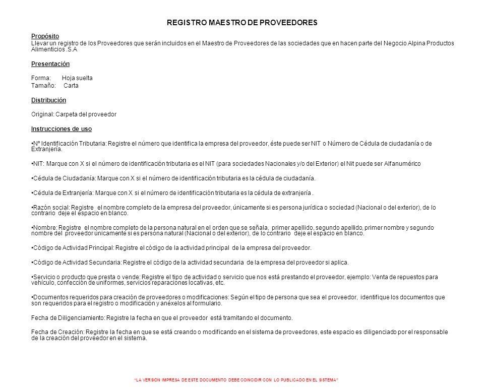 REGISTRO MAESTRO DE PROVEEDORES