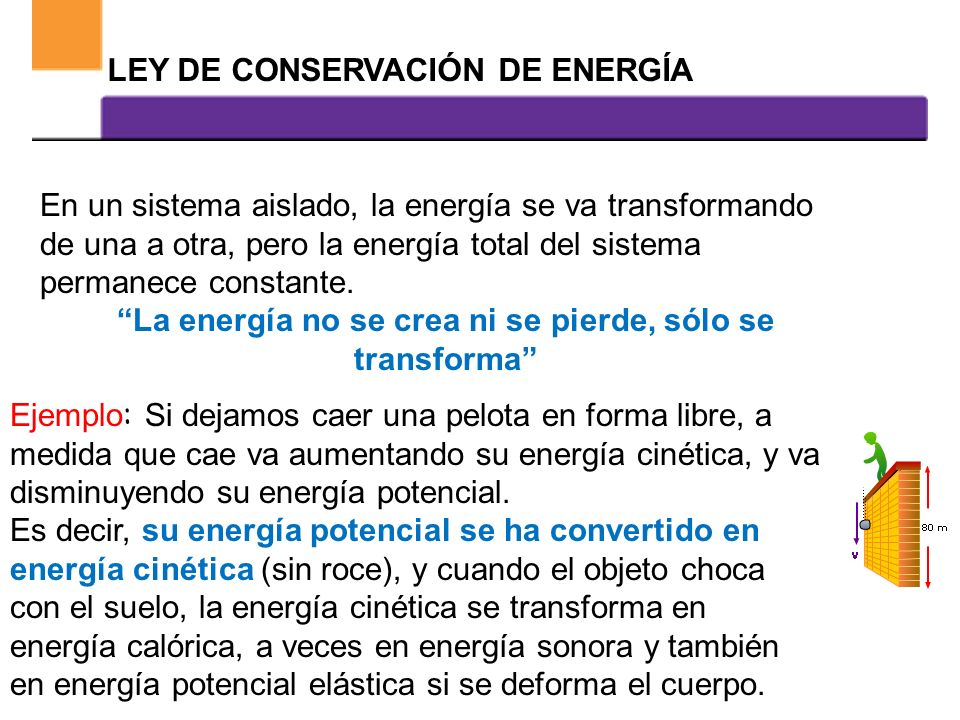 La energía no se crea ni se pierde, sólo se transforma