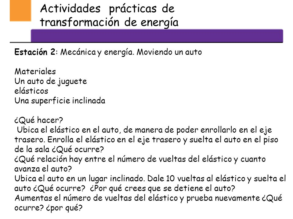 Actividades prácticas de transformación de energía