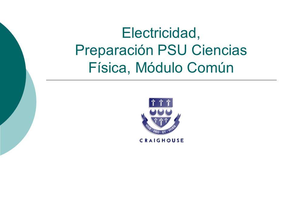 Electricidad, Preparación PSU Ciencias Física, Módulo Común