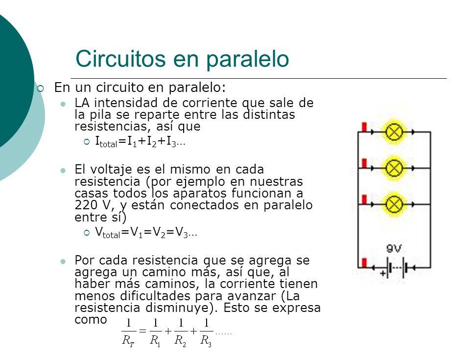 Circuitos en paralelo En un circuito en paralelo: