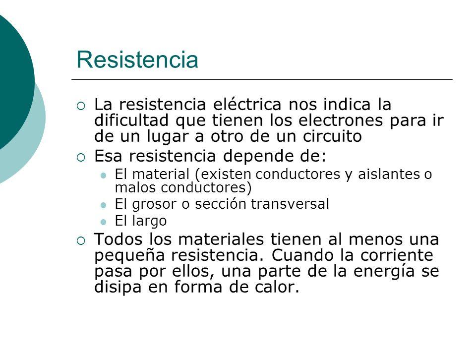 Resistencia La resistencia eléctrica nos indica la dificultad que tienen los electrones para ir de un lugar a otro de un circuito.