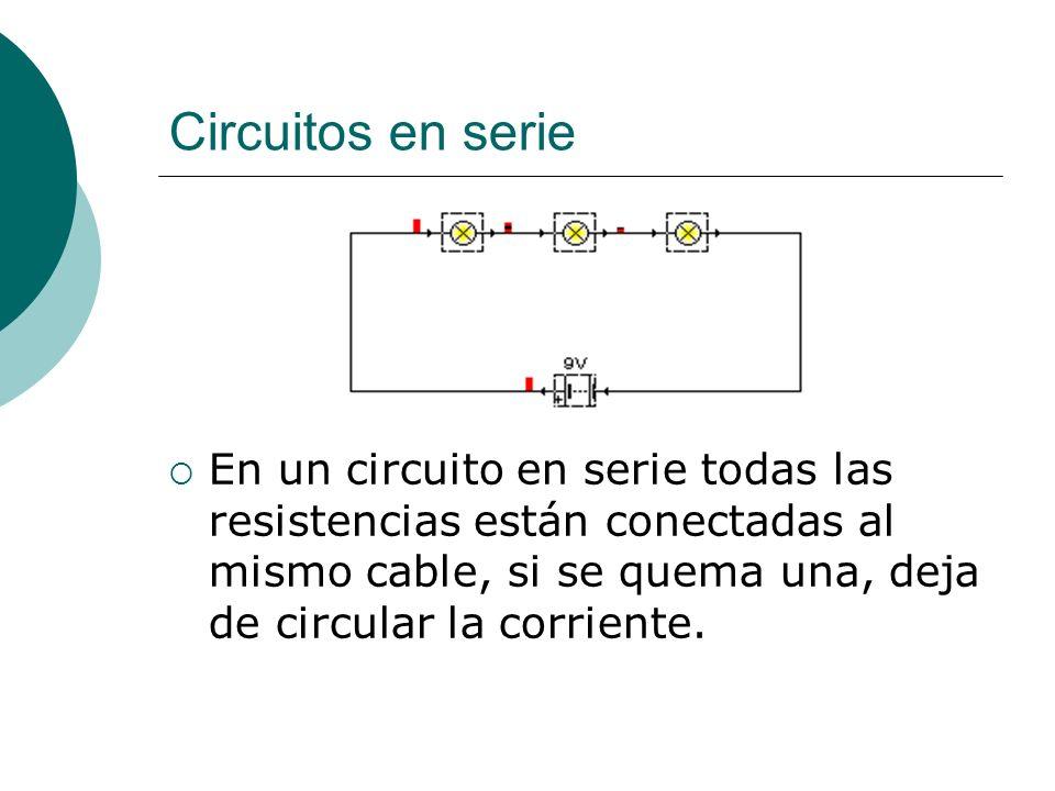 Circuitos en serieEn un circuito en serie todas las resistencias están conectadas al mismo cable, si se quema una, deja de circular la corriente.