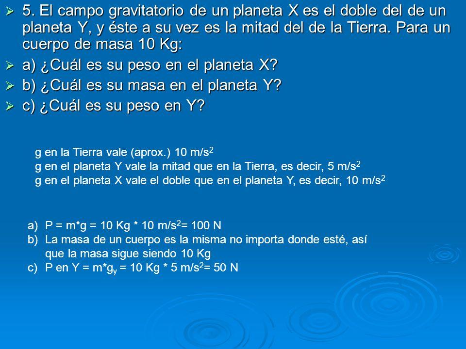 a) ¿Cuál es su peso en el planeta X