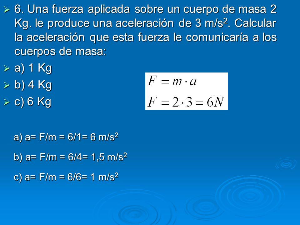 6. Una fuerza aplicada sobre un cuerpo de masa 2 Kg