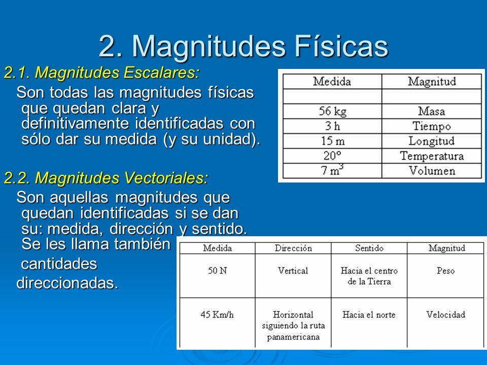 2. Magnitudes Físicas 2.1. Magnitudes Escalares: