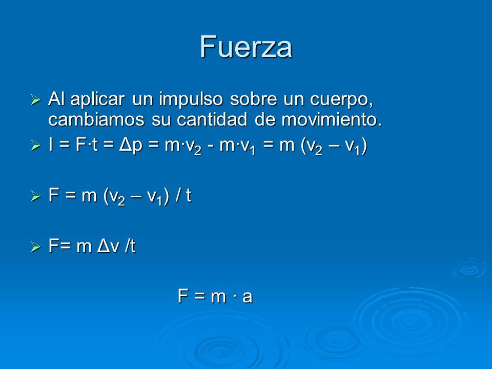 Fuerza Al aplicar un impulso sobre un cuerpo, cambiamos su cantidad de movimiento. I = F·t = Δp = m·v2 - m·v1 = m (v2 – v1)