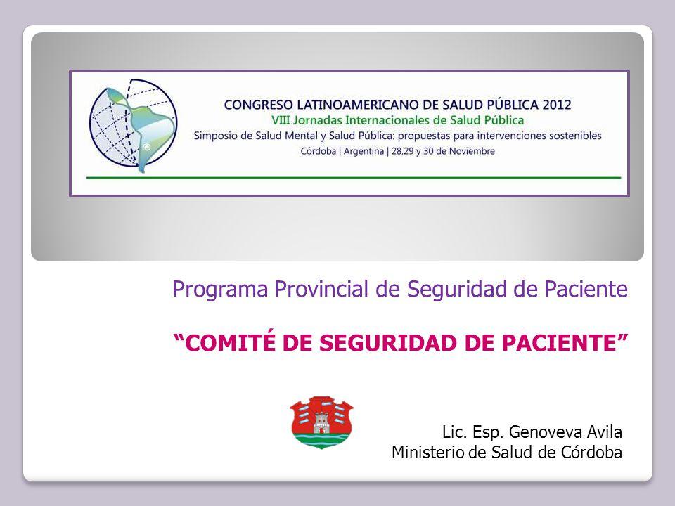 Programa Provincial de Seguridad de Paciente