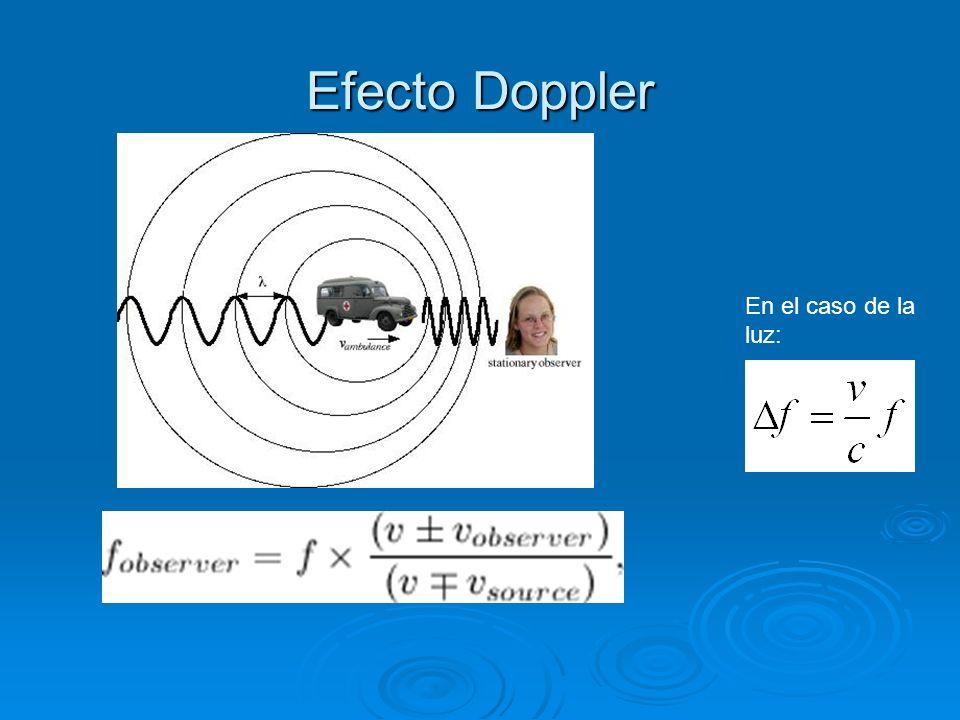 Efecto Doppler En el caso de la luz: