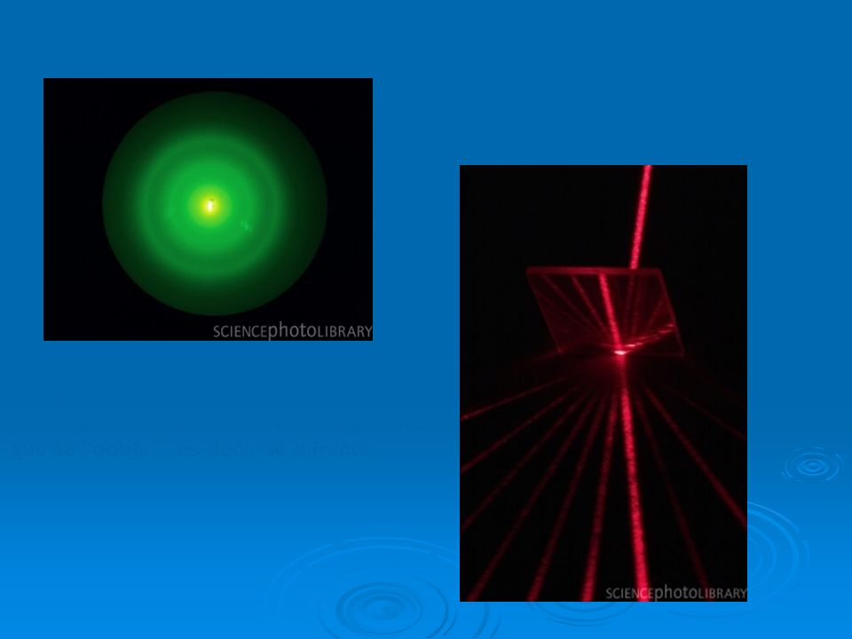 La luz no se propaga en línea recta al pasar por el extremo de una rendija, sino que se dobla , es decir se difracta.