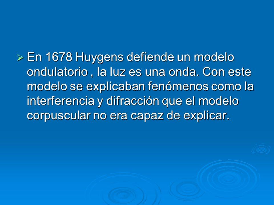 En 1678 Huygens defiende un modelo ondulatorio , la luz es una onda