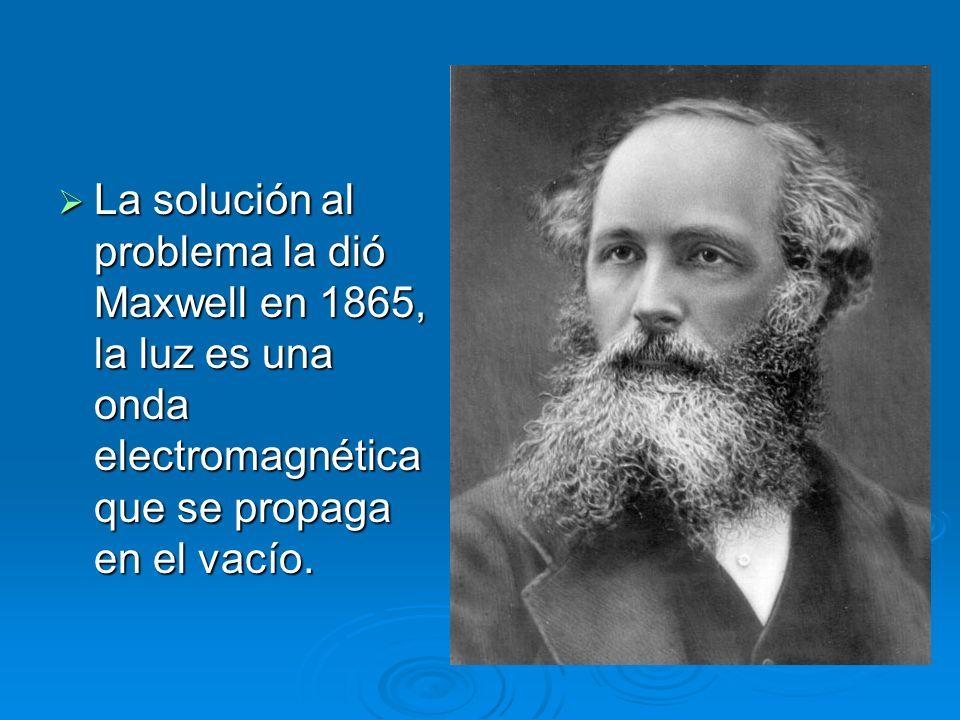 La solución al problema la dió Maxwell en 1865, la luz es una onda electromagnética que se propaga en el vacío.